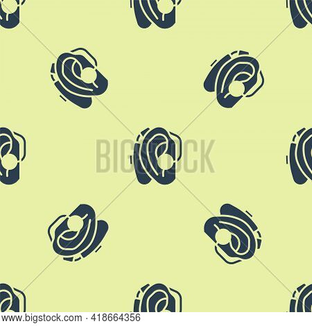 Blue Hearing Aid Icon Isolated Seamless Pattern On Yellow Background. Hearing And Ear. Vector
