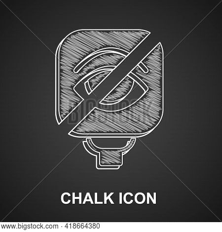 Chalk Blindness Icon Isolated On Black Background. Blind Sign. Vector