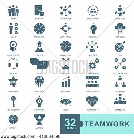 Business Teamwork, Team Building, Work Group And Human Resources Minimal Thin Line, Glyph Solid, Fil