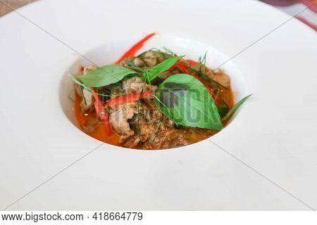 Curry Pork, Thai Curry Pork Or Stir Fried Pork With Curry For Thai Food