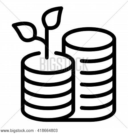 Result Money Coins Stack Icon. Outline Result Money Coins Stack Vector Icon For Web Design Isolated