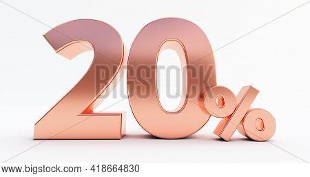 20 Percent On White Background. 3d Render Of A Bronze Twenty Percent