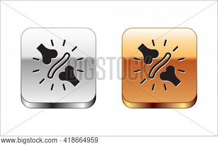 Black Joint Pain, Knee Pain Icon Isolated On White Background. Orthopedic Medical. Disease Of The Jo