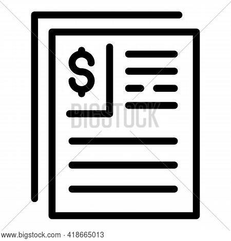 Result Money Finance Paper Icon. Outline Result Money Finance Paper Vector Icon For Web Design Isola