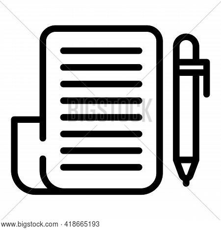 Notepad Market Studies Icon. Outline Notepad Market Studies Vector Icon For Web Design Isolated On W