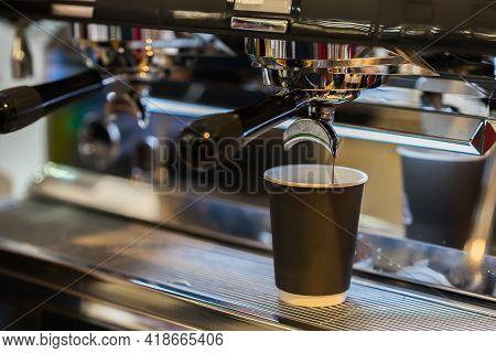 Espresso Machine Brewing Coffee Espresso. Abstract Barista Making Coffee With Coffee Machine In Coff