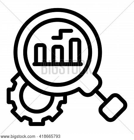 Search Gear Market Studies Icon. Outline Search Gear Market Studies Vector Icon For Web Design Isola