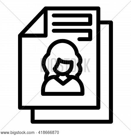 Printed Cv Icon. Outline Printed Cv Vector Icon For Web Design Isolated On White Background