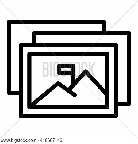 Printed Pictures Icon. Outline Printed Pictures Vector Icon For Web Design Isolated On White Backgro