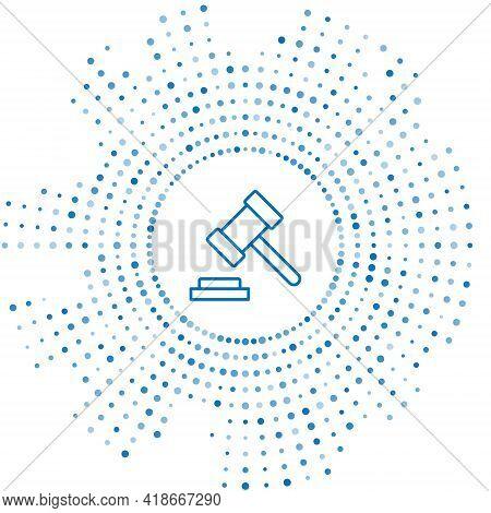 Blue Line Judge Gavel Icon Isolated On White Background. Gavel For Adjudication Of Sentences And Bil