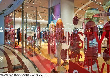 KUALA LUMPUR, MALAYSIA - CIRCA JANUARY, 2020: Calvin Klein storefront at Suria KLCC shopping mall in Kuala Lumpur.