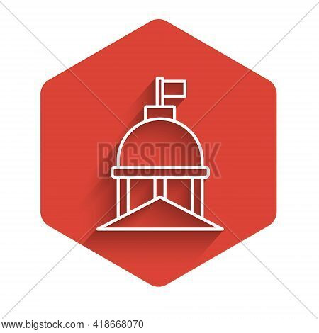 White Line White House Icon Isolated With Long Shadow. Washington Dc. Red Hexagon Button. Vector