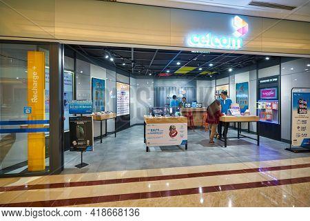 KUALA LUMPUR, MALAYSIA - CIRCA JANUARY, 2020: Celcom shopfront at Suria KLCC shopping mall in Kuala Lumpur.