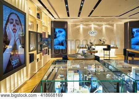 KUALA LUMPUR, MALAYSIA - CIRCA JANUARY, 2020: interior shot of APM Monaco store at Suria KLCC shopping mall in Kuala Lumpur.