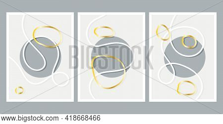 Scandinavian Design. Modern Art Print. Contemporary Grey Design. Set Of Fluid Geometric Shapes. Gray