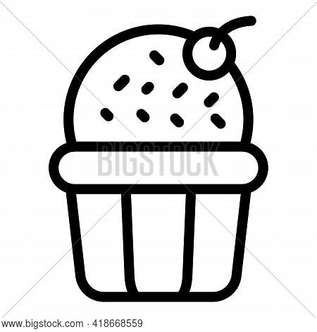 Dessert Muffin Icon. Outline Dessert Muffin Vector Icon For Web Design Isolated On White Background