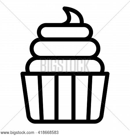 Sweet Cupcake Icon. Outline Sweet Cupcake Vector Icon For Web Design Isolated On White Background