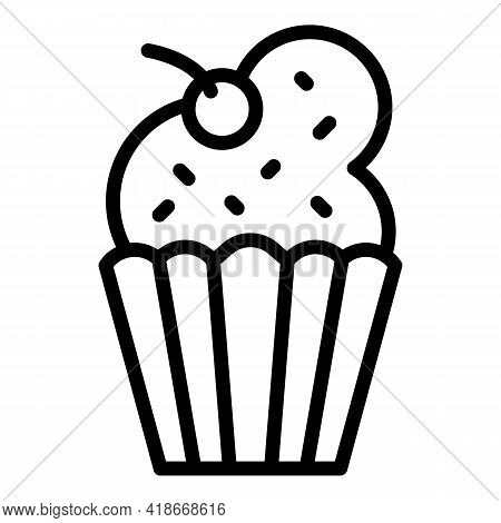 Candy Muffin Icon. Outline Candy Muffin Vector Icon For Web Design Isolated On White Background