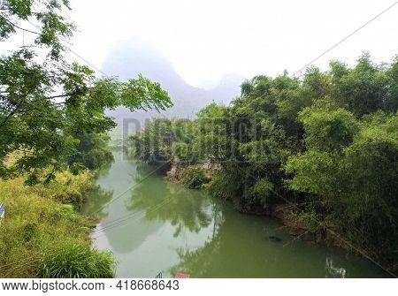 River In Huangyao Ancient Town, Hezhou City, Guangxi, China. Southern China Landscape, Karst Topogra