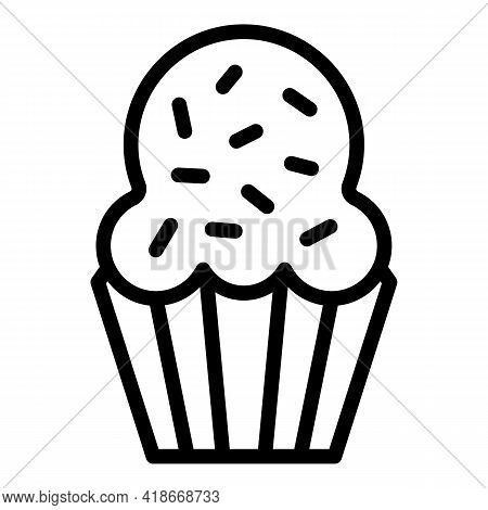 Baked Muffin Icon. Outline Baked Muffin Vector Icon For Web Design Isolated On White Background