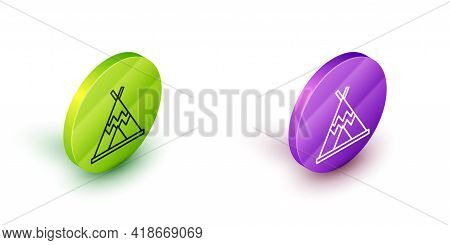 Isometric Line Traditional Indian Teepee Or Wigwam Icon Isolated On White Background. Indian Tent. G