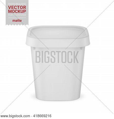 White Matte Plastic Container Mockup. Vector Illustration.