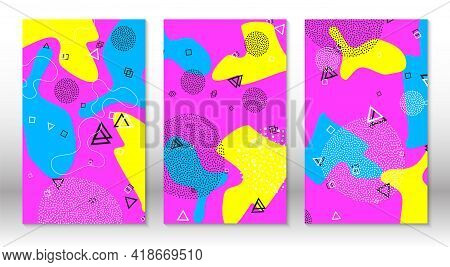 Set Of Doodle Fun Patterns. Hipster Style 80s-90s. Memphis Elements. Fluid Pink, Blue, Yellow Colors