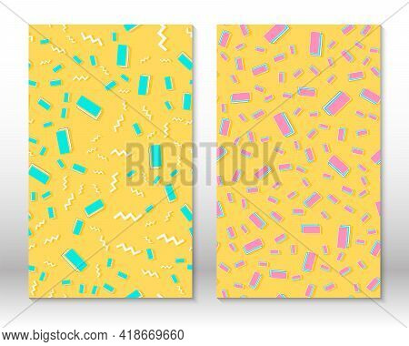 Set Of Doodle Fun Seamless Patterns. Vector Illustration. Hipster Style 80s-90s. Abstract Colorful F
