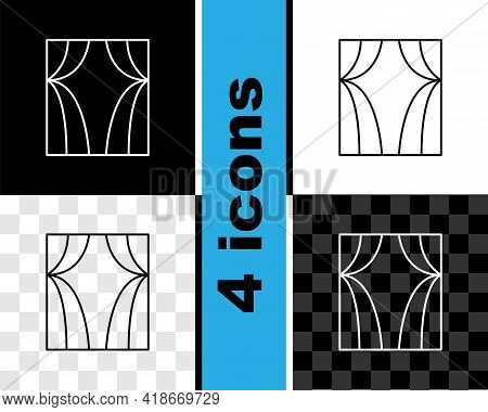 Set Line Circus Curtain Raises Icon Isolated On Black And White, Transparent Background. For Theater
