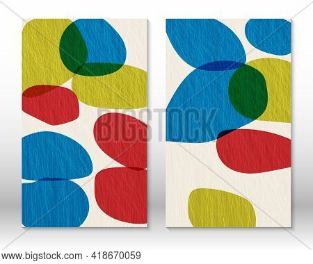 Modern Abstract Painting. Set Of Fluid Textured Geometric Shapes. Abstract Hand-drawn Watercolor Eff