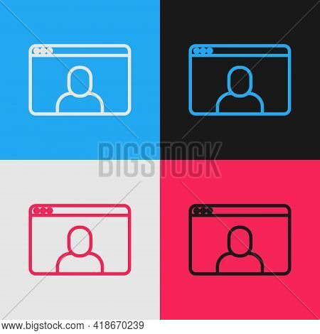 Pop Art Line Video Chat Conference Icon Isolated On Color Background. Online Meeting Work Form Home.
