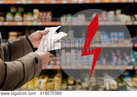 Man Thinking How To Pay For Store Bill Because Of Price Rising, Arrow In The Form Of A Lightning Bol