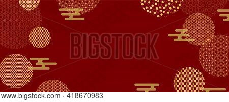 Traditional Asian Background, Eastern Patterns Elements, Clouds, Gold On Red, Copy Space. Oriental S