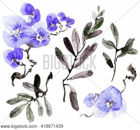 Watercolor Illustration Of Blue Flowers, Buds And Leaves. Oriental Traditional Painting In Style Sum