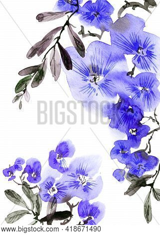 Watercolor Illustration Of Blossom Tree With Blue Flowers, Buds And Leaves. Oriental Traditional Pai