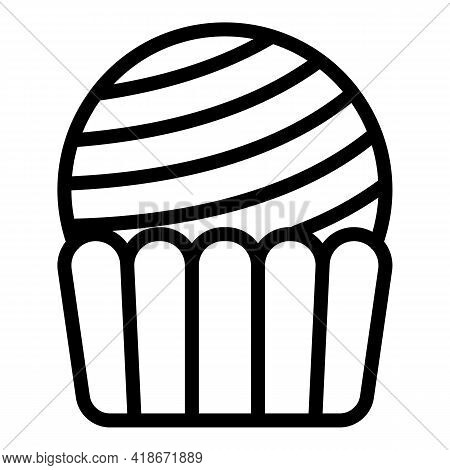Cookie Muffin Icon. Outline Cookie Muffin Vector Icon For Web Design Isolated On White Background