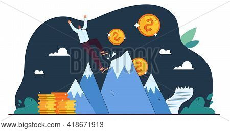 Cartoon Tiny Businessman Falling Down From Top Of Success. Flat Vector Illustration. Unexpected Comp