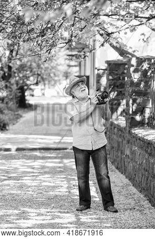 Spring Holidays. Enjoying Free Time. Walking His Favorite Street. Travel And Tourism. Photographer I