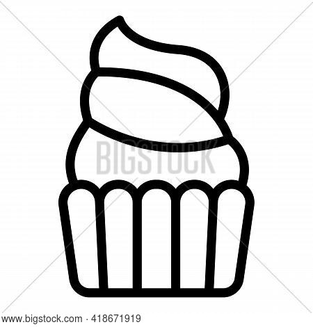 Delicious Muffin Icon. Outline Delicious Muffin Vector Icon For Web Design Isolated On White Backgro