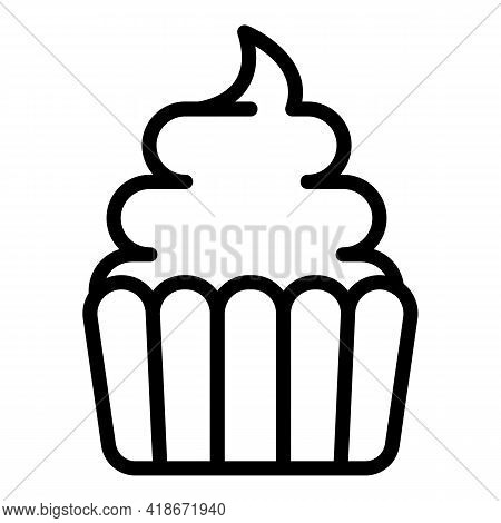 Food Muffin Icon. Outline Food Muffin Vector Icon For Web Design Isolated On White Background