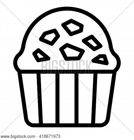 Chocolate Muffin Icon. Outline Chocolate Muffin Vector Icon For Web Design Isolated On White Backgro
