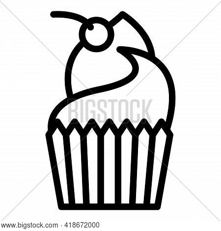 Cherry Muffin Icon. Outline Cherry Muffin Vector Icon For Web Design Isolated On White Background