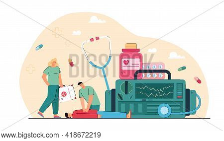 Emergency Cardiopulmonary Resuscitation. Flat Vector Illustration. Tiny Medics With Giant Medical Eq