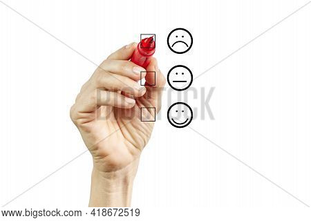 Woman Hand Putting Check Mark With Red Marker On Poor Customer Service Evaluation Form. Evaluation C