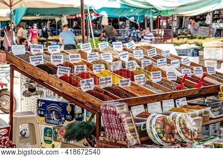 Alanya, Turkey - October 23, 2020: Spice Stand At The Open-air Rural Food Market In Alanya. Wooden B