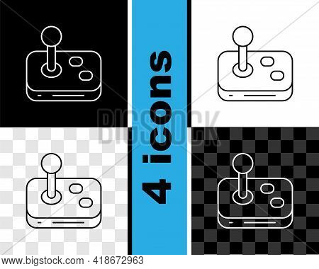 Set Line Joystick For Arcade Machine Icon Isolated On Black And White, Transparent Background. Joyst