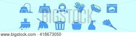 Set Of Feather Duster Cartoon Icon Design Template With Various Models. Modern Vector Illustration I