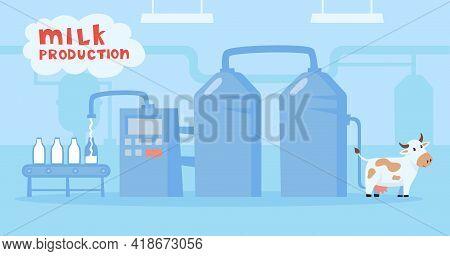 Cartoon Cow Character In Milk Factory Vector Illustration. Farm Animal, Conveyor Belt With Glass Bot