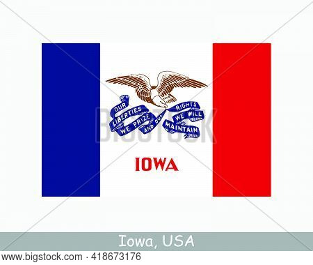 Iowa Usa State Flag. Flag Of Ia, Usa Isolated On White Background. United States, America, American,