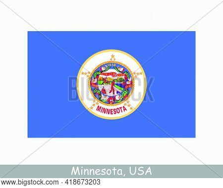 Minnesota Usa State Flag. Flag Of Mn, Usa Isolated On White Background. United States, America, Amer